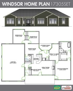 Windsor 3 Bedroom 2 Bathroom Home Plan Features Open Concept Great Room Breakfast Nook Kitchen Formal Dining Office TV Master Suite With