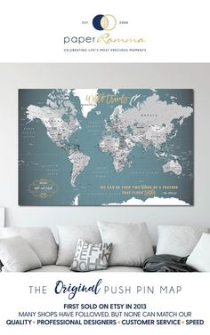 This item is unavailable Push Pin World Map World Map Poster Canvas Travel Map World Map Pin Board, World Map With Pins, Push Pin World Map, World Map Mural, World Map Poster, World Map Travel, Travel Maps, Couple Travel, Map Art
