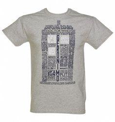 Men's Grey Marl Doctor Who TARDIS Quotes T-Shirt