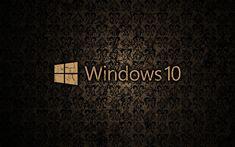 Download wallpapers Windows 10, vintage pattern, logo, brown background, Windows 10 logo, Microsoft