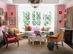 Bubblegum pink, BM Pink Begonia. Room by Windsor Smith. Those diamond mullioned windows just make it!!