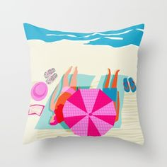 Toasty - memphis throwback minimal retro neon beach surfing suntan waves ocean socal pop art Throw Pillow