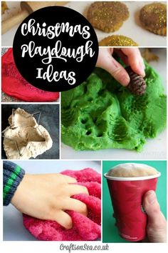 Christmas Playdough Ideas - Recipes and idea for play for Christmas sensory play for kids Christmas Crafts For Kids To Make, Christmas Activities For Kids, Preschool Christmas, Christmas Themes, Christmas Projects, Kids Christmas, Craft Activities For Kids, Playdough Activities, Toddler Activities
