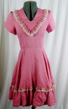 Vintage Retro 1970's mauve tulip sleeve prairie full swing dress