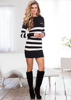 Black and white stripe sweater dress by VENUS available in sizes XS , XL