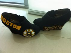 Boston Bruins Hockey NHL Custom Hand-Embroidered Black & Gold Logo Suede & Felt Wedge Heel Women's Size 7 Booties Shoes, $97 via 'chrystenfahey' on Etsy --- Again, too bad they're the wrong size! Too small! And my back can't tolerate wearing heels anymore, only flats! (cc: @soxygeologist)
