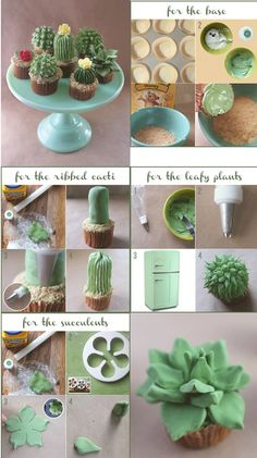 creative cupcakes … in case the deco ideas go out … – Food – Cactus Cupcakes Succulents, Kaktus Cupcakes, Cake Decorating Techniques, Cake Decorating Tutorials, Cookie Decorating, Decorating Supplies, Fondant Flowers, Sugar Flowers, Decoration Patisserie