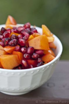 Clean Eating Winter Harvest Fruit Salad  Ingredients  4 cups chopped persimmons  2 cup pomegranate seeds  Juice of 1/2 lemon  Directions  Step 1 – Combine all ingredients in a mixing bowl. Mix well and serve.