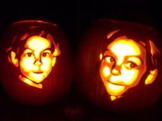 faces carved into pumpkins
