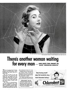 Read caption under spider woman. That's just vile. | 10 More Retro Ads That Made Women Look Like Idiots