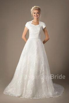 cheap modest wedding dresses, Henri lace and A-line shape at LatterDayBride