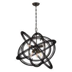 Eurofase Orbita Collection 6-Light Bronze Chandelier with Vintage Bronze Shade