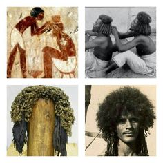 East African hairdressing, then, and now: ancient Egyptian male hairdresser arranging a client's kinky hair into rows of small coils; Hadendowa man with a half done hairstyle, doing the same for his brother: notice the similarity between both images in hairstyles and loincloths; an 18th dynasty wig made to look like the naturally Afro-textured hairstyles of Native ancient Egyptians; Hadendowa man with his natural hair half done, no wig worn. Eritrea, East Africa. Collage, Amina Bari.