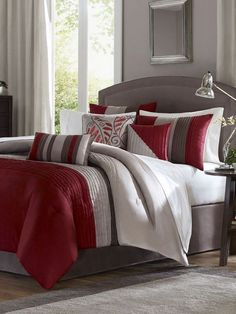 Madison Park Bedding Set: gray and red bedroom ideas