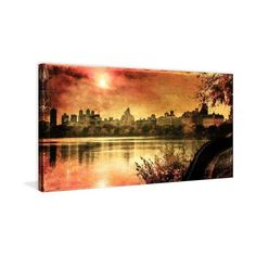 Marmont Hill Sunset in the Park James Painting Print on Canvas 30 x 60 ($225) ❤ liked on Polyvore featuring home, home decor, wall art, canvas art, wall decor, sunset wall art, canvas painting, canvas home decor, landscape wall art and canvas wall art