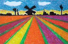 Perspective and collage.perspective project based on spring holland tulip farms Spring Art Projects, School Art Projects, Windmill Art, Arte Elemental, 2nd Grade Art, Perspective Art, Ecole Art, Art Lessons Elementary, Elements Of Art