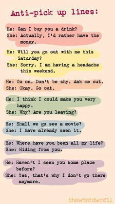 Anti pick-up lines