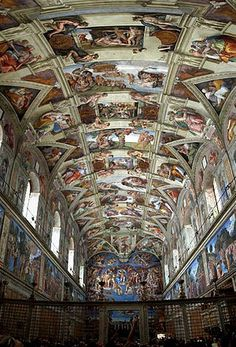 The Sistine Chapel ceiling, painted by Michelangelo between 1508 and 1512