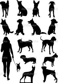 conjunto de silhueta de cães. ilustração vetorial — Vetorial Stock  #28268935