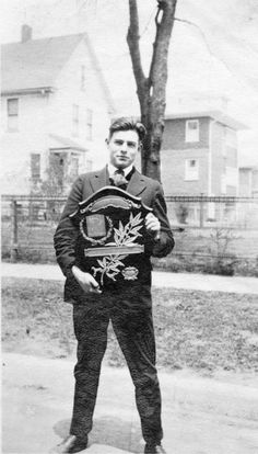Ernest Hemingway on his graduation day from Oak Park and River Forest High School, 1917, Chicago. via oakpark.com