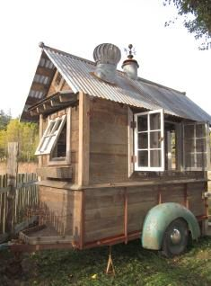 Garden shed on a trailer.  Not a vintage trailer, but wouldn't this be great  for craft shows, lol!