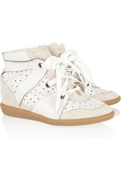 Isabel Marant | Betty leather and suede wedge sneakers | NET-A-PORTER.COM