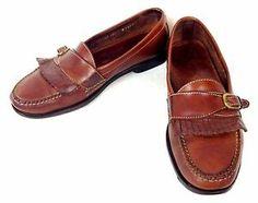 Cole Haan Shoes Leather Brown Loafers Slip on Monk Strap Kiltie Tassel 10 5 D   eBay
