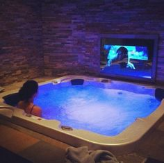 Hot tub room with an in wall TV Dream Home Design, My Dream Home, Hot Tub Room, Piscina Interior, Luxury Pools, Luxury Homes Dream Houses, Dream Pools, Dream Bathrooms, Tv In Bathroom