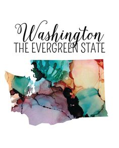 Show off your Washington love with this gorgeous watercolor printable of the state and states nickname! This 8x10 digital file will be available for