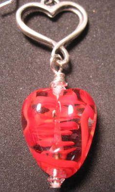 Heart & Heart lampwork glass beads earrings by BrownDogGlassBeads, $40.00