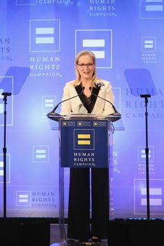 In an emotional speech by turns tearful, defiant and humorous, Meryl Streep doubled down on her harsh criticism of PresidentTrump and spoke of having become a target since she first took him on in her Golden Globes speech in January.