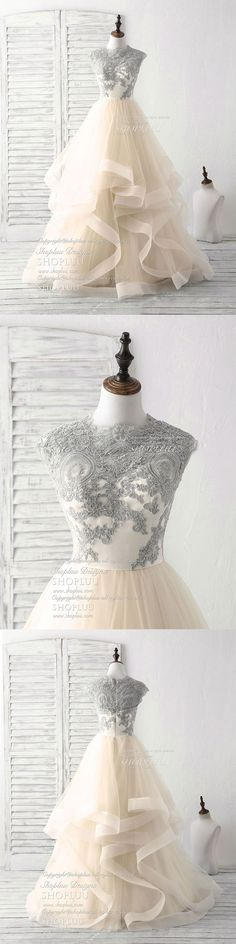 Champagne tulle lace applique long prom dress champagne tulle sweet 16 dress