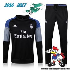 La Liga : Survetement Foot Real Madrid Noir 2016 2017 - Homme Kits Pas Chere