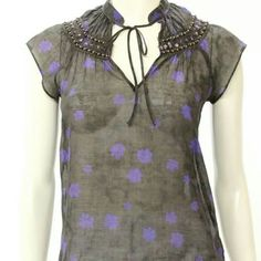 """Theory floral print LALLA blouse Constructed from cotton, this feminine brown and purple floral print blouse features a V-neckline with tie closure, beading, and short sleeves. Sheer.  Total length - 23""""25', chest - 17""""25'. Excellent condition. 1201 Theory Tops Blouses"""