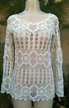 Captivating Crochet a Bodycon Dress Top Ideas. Dazzling Crochet a Bodycon Dress Top Ideas. Crochet Tunic, Crochet Jacket, Diy Crochet, Crochet Clothes, Crochet Bebe, Crochet Tops, Hand Knitting, Knitting Patterns, Crochet Patterns