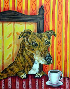 GREYHOUND coffee dog signed art print animals impressionism gift artist new in Art, Direct from the Artist, Prints | eBay