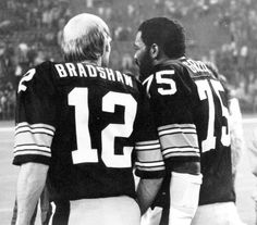 Two pillars from the dynasty of the '70s - Mean Joe and Terry Bradshaw.