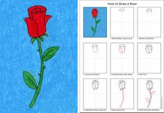 Art Projects for Kids: How to Draw a Rose. Free PDF Tutorial.