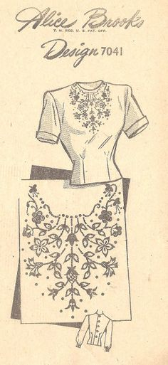 """1940s Misses Blouse Vintage Sewing Pattern, Dart Fitted Bodice, Floral Embroidery, Alice Brooks Unprinted Pattern 7041 Bust 34"""" Uncut"""