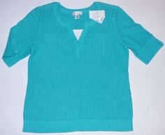 NEW Christopher & Banks Aqua Short Sleeve Layered Pullover Sweater Top Womens M #ChristopherBanks #Pullover