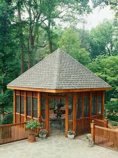 "Smart Gazebo Windows  ""This gazebo's windows were strategically positioned to overlook the surrounding scenery. And see-through screening allows great views without sacrificing privacy."""