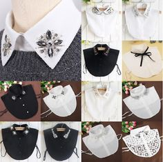Lady Retro Detachable Faux Fake Lapel Shirt Collar Necklace Removable Choker New Diy Fashion, Ideias Fashion, Womens Fashion, Retro Fashion, Fashion Trends, Clothing Patterns, Sewing Patterns, Collar Designs, Collar Necklace