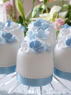 Blue, White Mini Cakes