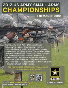 "he U.S. Army Marksmanship Unit, in conjunction with the Maneuver Center of Excellence and Fort Benning, will host the 2012 U.S. All-Army Small Arms Championships March 1-10. The ""All-Army"" competition is open to all Soldiers of any rank in the entire Army formation, including West Point and college ROTC cadets, Army Reservists and National Guardsmen."