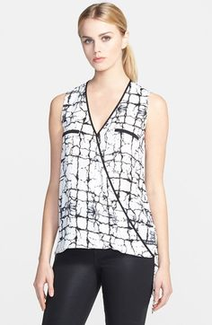 Ro & De Sleeveless Crossover Blouse available at #Nordstrom