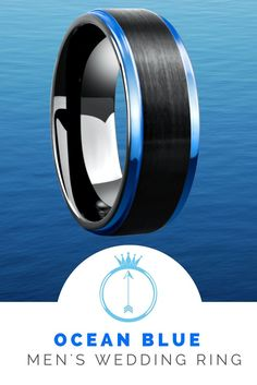 Mens ocean blue tungsten wedding ring. The ideal mens wedding ring for the outdoorsmen / ocean lover. Raised black brushed center with step down high polish blue edges. This makes such a unique mens wedding ring.