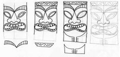 Stitchlily: How to draw a Tiki Head!