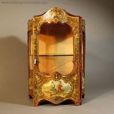 French Miniature Cabinet with Enamel-Painted Scenes