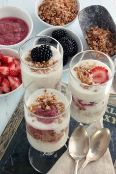 Parfait bar.  Did this for my daughter's first birthday brunch and it was amazingly easy and a crowd pleaser as well.