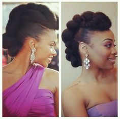 Top Natural Hair Tutorials :: Feb - Feb featuring RedCarpet-Ready Natural Hair Updo Inspired by Teyonah Parris! (Felicia Leatherwood) from MsVaughnTV's Protective Hairstyles For Natural Hair, Natural Afro Hairstyles, Natural Hair Updo, Short Hair Updo, Curly Hair Styles, Natural Hair Styles, Kid Hairstyles, Hairstyle Ideas, Marley Hair